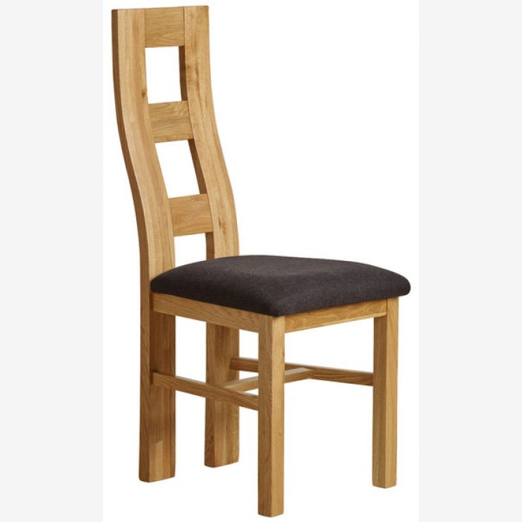 Wave Back Natural Solid Oak and Plain Black Fabric Dining Chair - Image 4