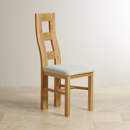 Wave Back Natural Solid Oak and Plain Grey Fabric Dining Chair