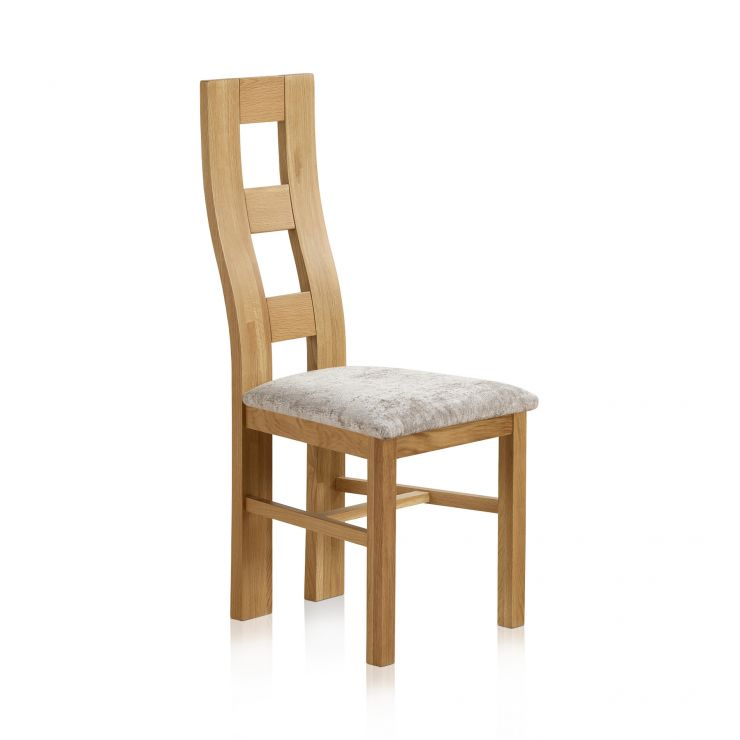 Wave Back Natural Solid Oak and Plain Truffle Fabric Dining Chair
