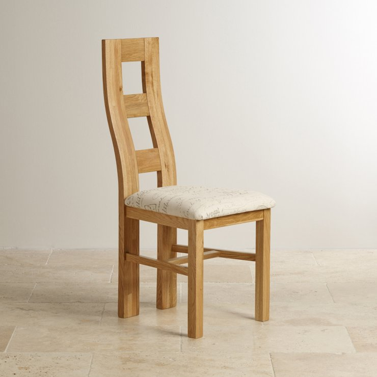 Wave Back Natural Solid Oak and Scripted Beige Fabric Chair
