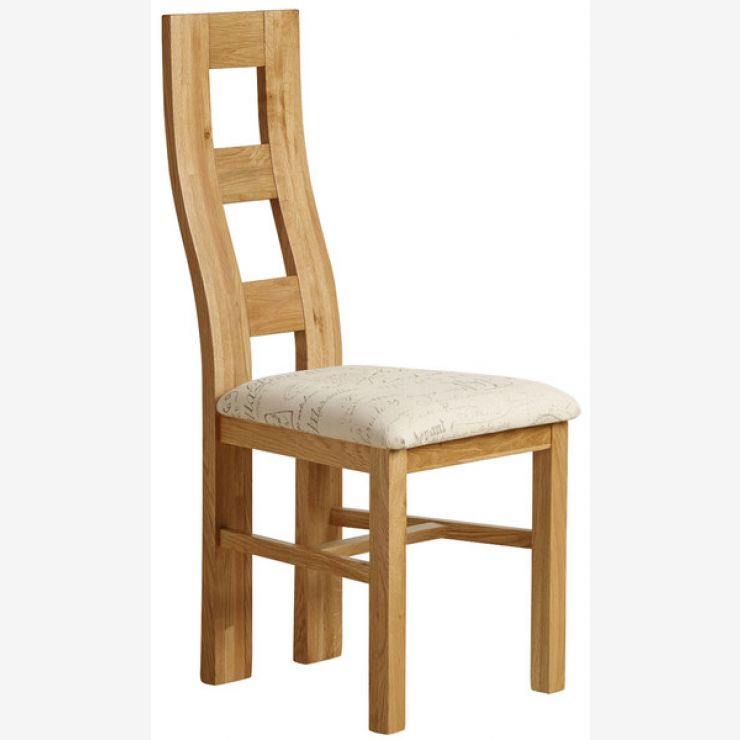 Wave Back Natural Solid Oak and Scripted Beige Fabric Chair - Image 4