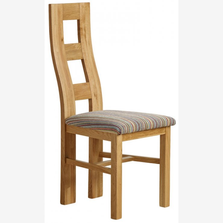Wave Back Natural Solid Oak and Striped Multi-coloured Fabric Chair - Image 4