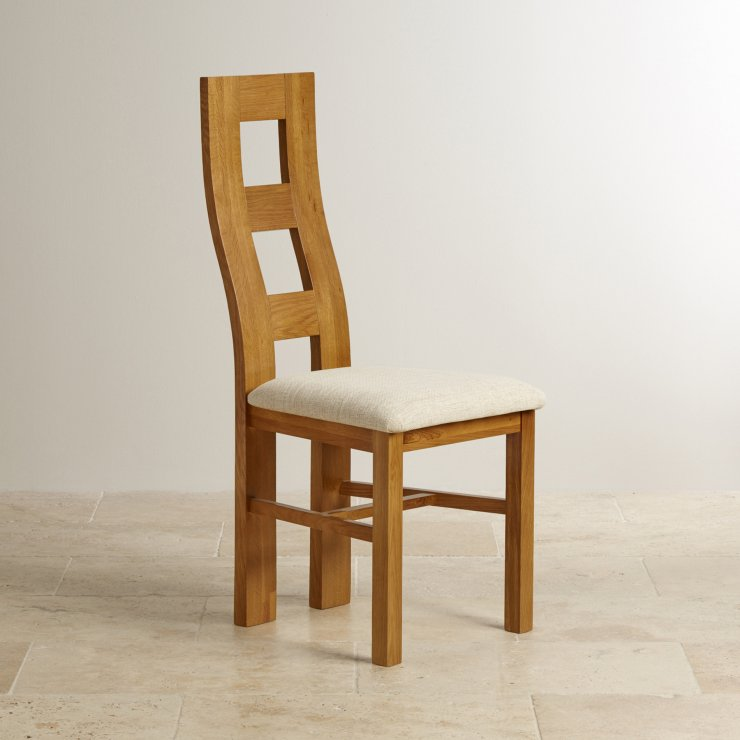 Wave Back Rustic Solid Oak and Beige Plain Fabric Dining Chair - Image 3