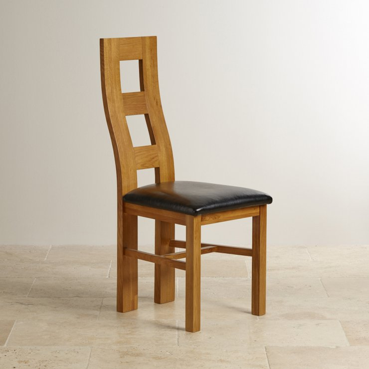 Wave Back Rustic Solid Oak and Black Leather Dining Chair - Image 3