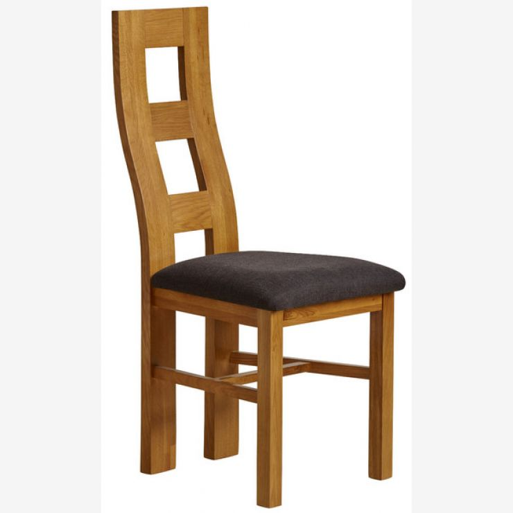 Wave Back Rustic Solid Oak and Black Plain Fabric Dining Chair - Image 4