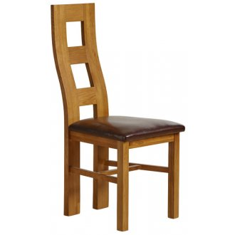 Wave Back Rustic Solid Oak and Brown Leather Dining Chair