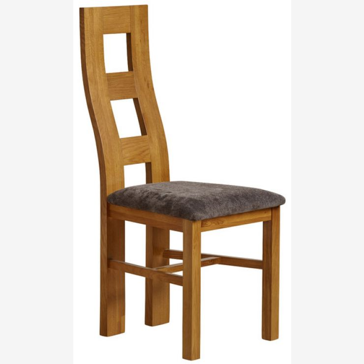 Wave Back Rustic Solid Oak and Charcoal Plain Fabric Dining Chair