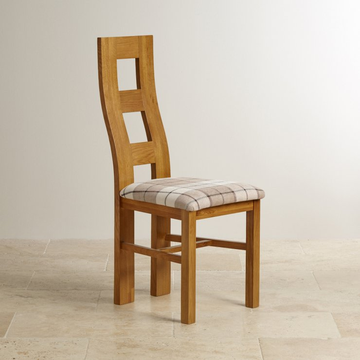 Wave Back Rustic Solid Oak and Check Brown Fabric Chair - Image 3