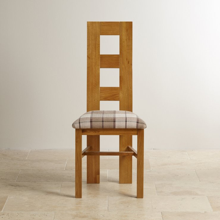 Wave Back Rustic Solid Oak and Check Brown Fabric Chair