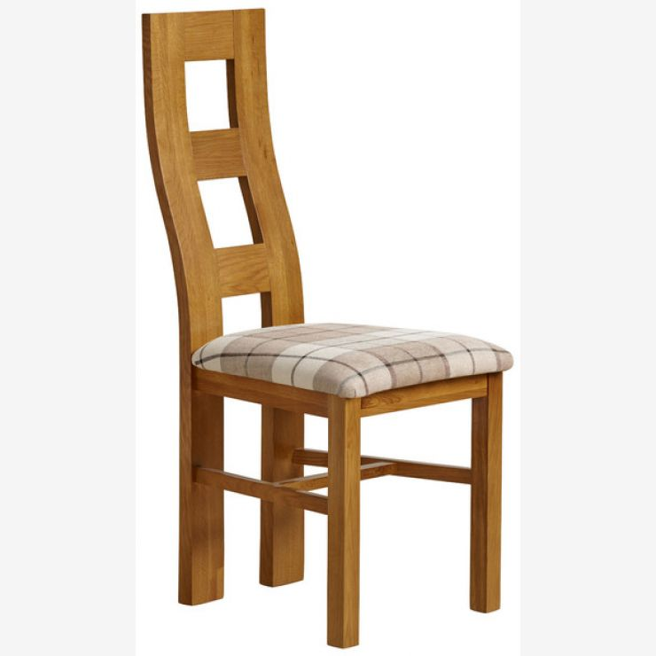 Wave Back Rustic Solid Oak and Check Brown Fabric Chair - Image 4