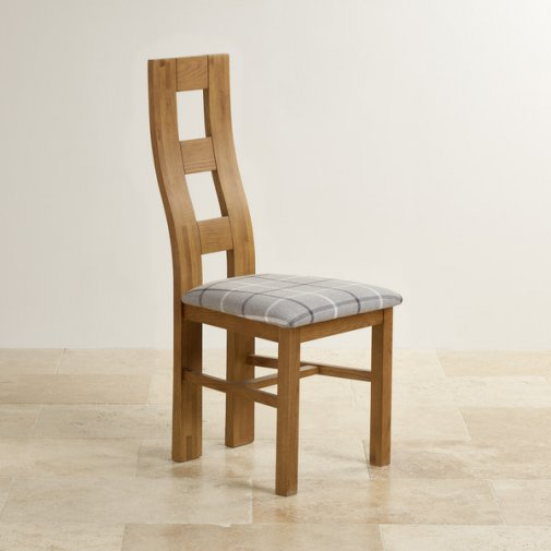 Wave Back Rustic Solid Oak and Check Granite Fabric Dining Chair