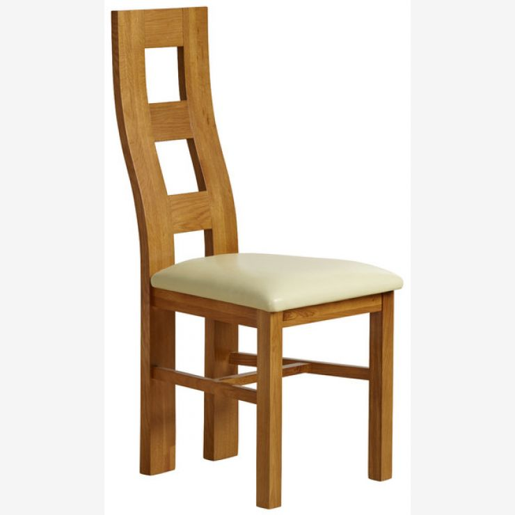 Wave Back Rustic Solid Oak and Cream Leather Dining Chair - Image 4