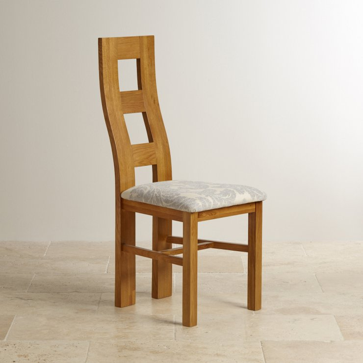 Wave Back Rustic Solid Oak and Grey Patterned Fabric Dining Chair