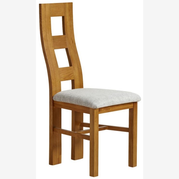 Wave Back Rustic Solid Oak and Grey Plain Fabric Dining Chair - Image 4