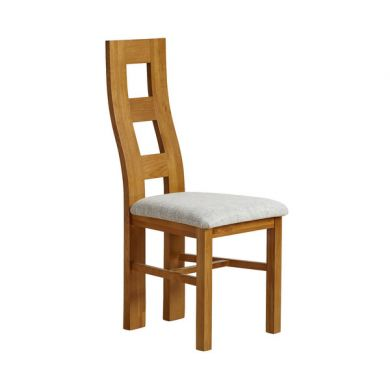 Wave Back Rustic Solid Oak and Grey Plain Fabric Dining Chair