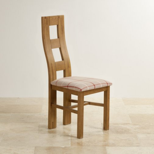 Wave Back Rustic Solid Oak and Check Natural Fabric Dining Chair