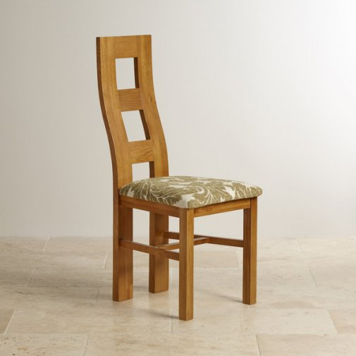Wave Back Rustic Solid Oak and Sage Patterned Fabric Dining Chair