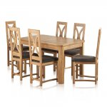 "Wiltshire Natural Solid Oak 4ft 3"" Extending Dining Set with 6 Loop Back and Charcoal Fabric Chairs - Thumbnail 1"
