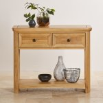 Wiltshire Natural Solid Oak Console Table - Thumbnail 4