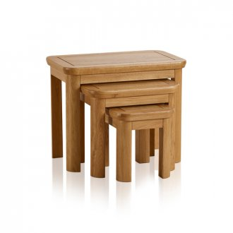 Wiltshire Natural Solid Oak Nest of 3 Tables