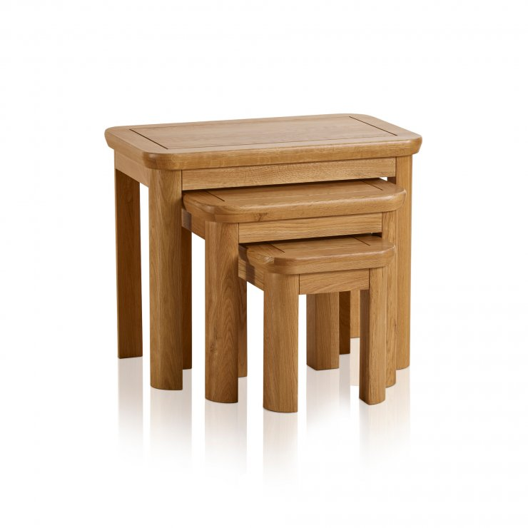 Wiltshire Natural Solid Oak Nest of 3 Tables - Image 5