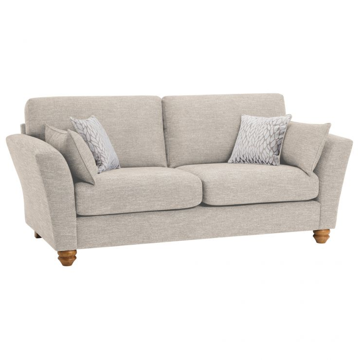 Witney 3 Seater Sofa in Linen with Beige Scatters