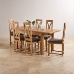 "Wiltshire Natural Solid Oak 4ft 3"" Extending Dining Set with 6 Loop Back and Charcoal Fabric Chairs - Thumbnail 3"