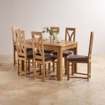 "Wiltshire Natural Solid Oak 4ft 3"" Extending Dining Set with 6 Loop Back and Charcoal Fabric Chairs - Thumbnail 2"