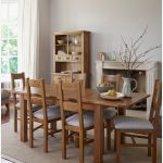Rushmere Rustic Solid Oak Dining Set - 4ft 7 Extending Table With 6 Farmhouse and Grey Fabric Chairs - Thumbnail 9