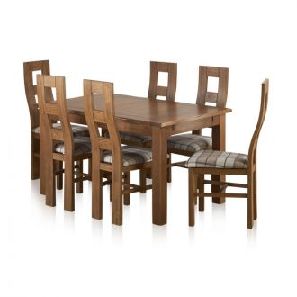 "Rushmere Rustic Solid Oak 4ft 7"" Extending Table with 6 Wave Back and Check Brown Fabric Chairs"