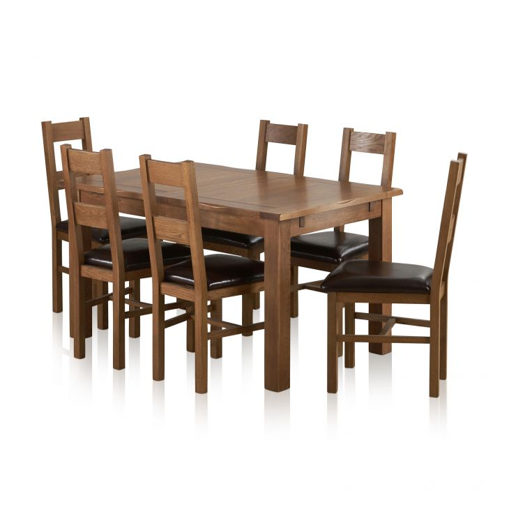 "Rushmere Rustic Solid Oak 4ft 7"" Extending Table with 6 Farmhouse and Brown Leather Chairs - Image 8"