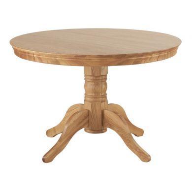 Natural Solid Oak Round Pedestal Table