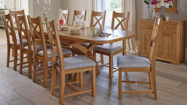 Oak Extendable Dining Table And Chairs Oak Furnitureland