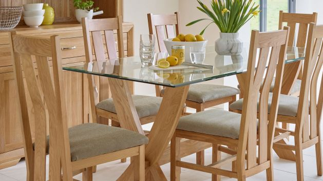 Oak Glass Dining Tables Glass Tables Oak Furnitureland