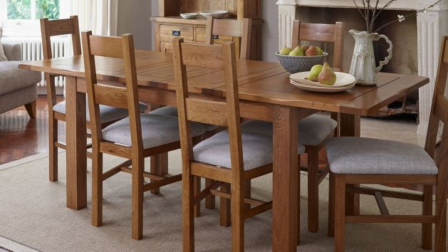 Oak With Fabric Dining Chairs