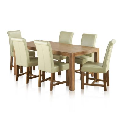 Alto Natural Solid Oak Dining Set - 6ft Table with 6 Braced Scroll Back Cream Leather Chairs