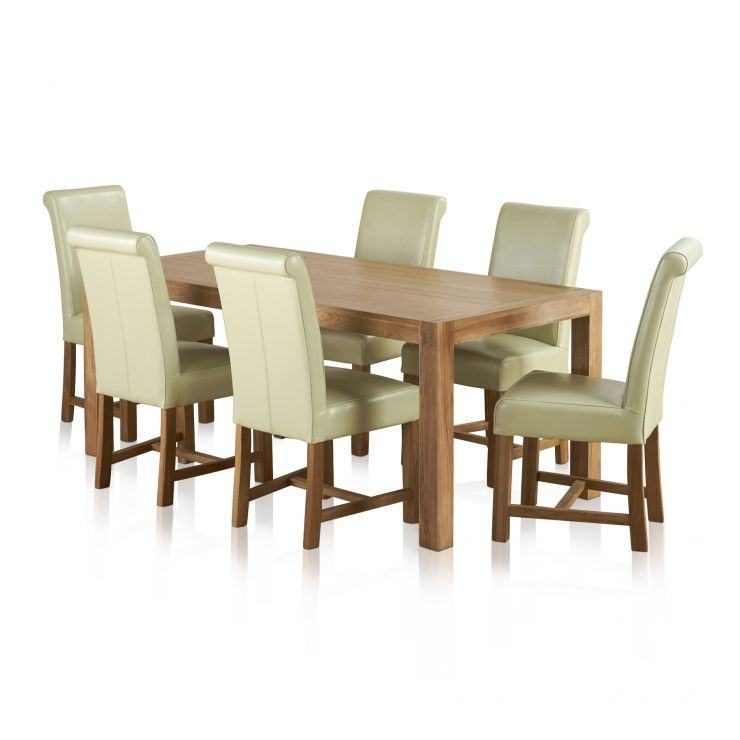 Alto Natural Solid Oak Dining Set - 6ft Table with 6 Braced Scroll Back Cream Leather Chairs - Image 6