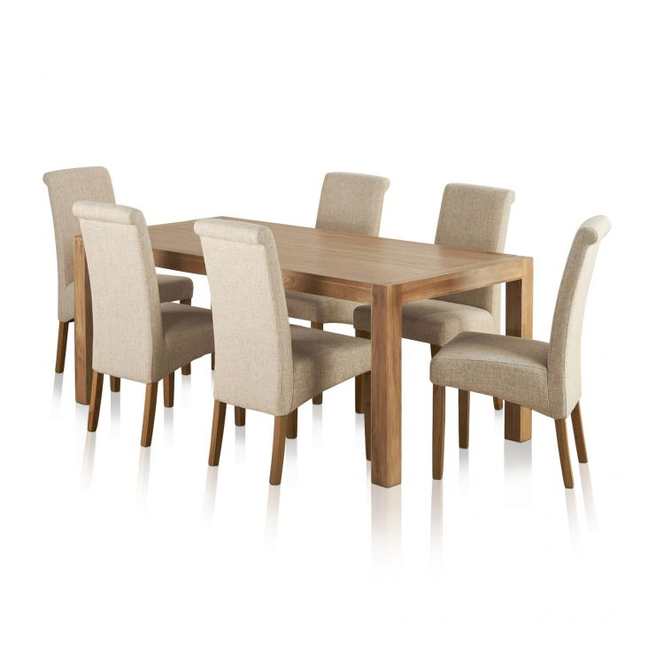 Alto Natural Solid Oak Dining Set - 6ft Table with 6 Scroll Back Plain Beige Fabric Chairs - Image 6