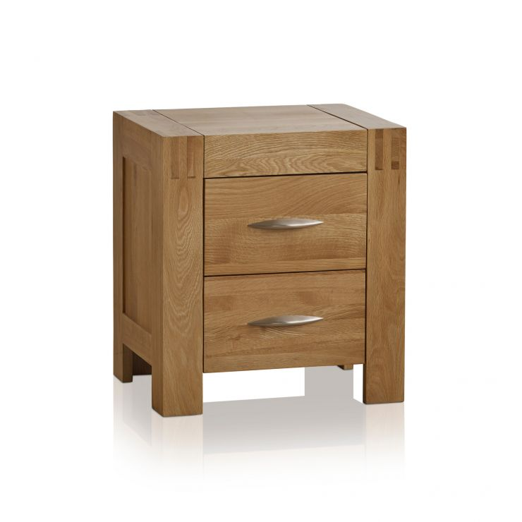 Alto Natural Solid Oak 2 Drawer Bedside Table - Image 1