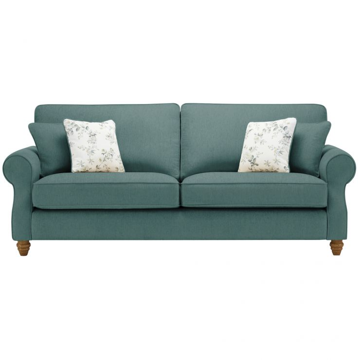 Amelia 4 Seater Sofa in Polla Cornflower with Rippon Natural Scatters - Image 1