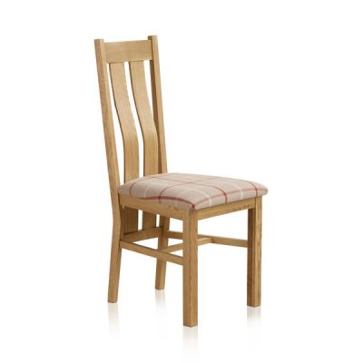 Arched Back Natural Solid Oak and Check Natural Fabric Dining Chair