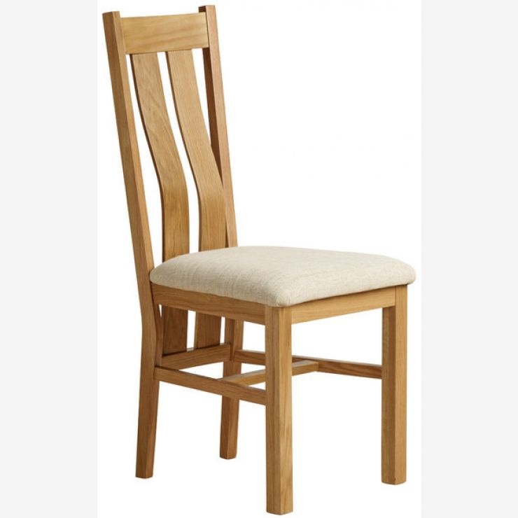 Arched Back Natural Solid Oak and Plain Beige Fabric Dining Chair - Image 4