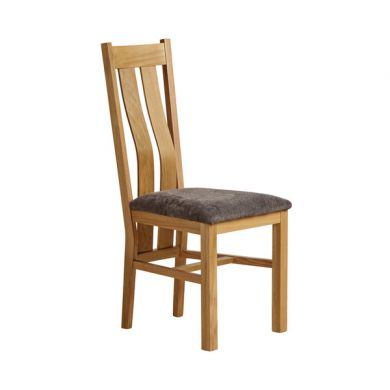 Arched Back Natural Solid Oak and Plain Charcoal Fabric Dining Chair