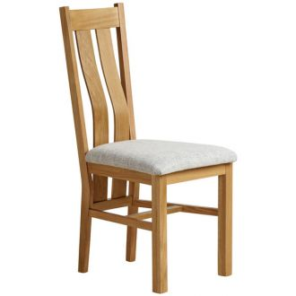 Arched Back Natural Solid Oak and Plain Grey Fabric Dining Chair