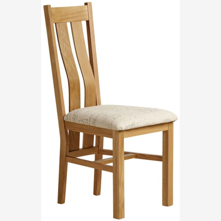 Arched Back Natural Solid Oak and Scripted Beige Fabric Dining Chair - Image 4