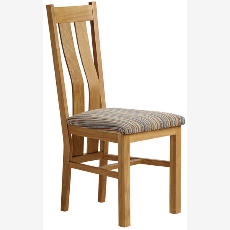 Arched Back Natural Solid Oak and Striped Multi-coloured Fabric Chair - Image 4