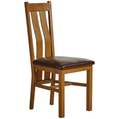 Arched Back Rustic Solid Oak and Brown Leather Dining Chair