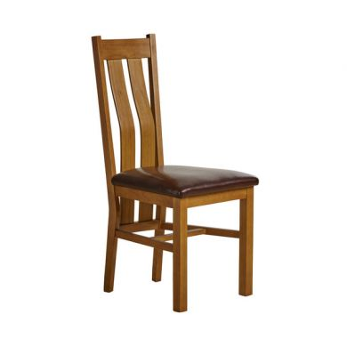 Arched Back Rustic Solid Oak Dining Chair Frame + Chair Pad - Brown Leather