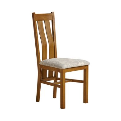 Arched Back Rustic Solid Oak and Grey Patterned Fabric Dining Chair
