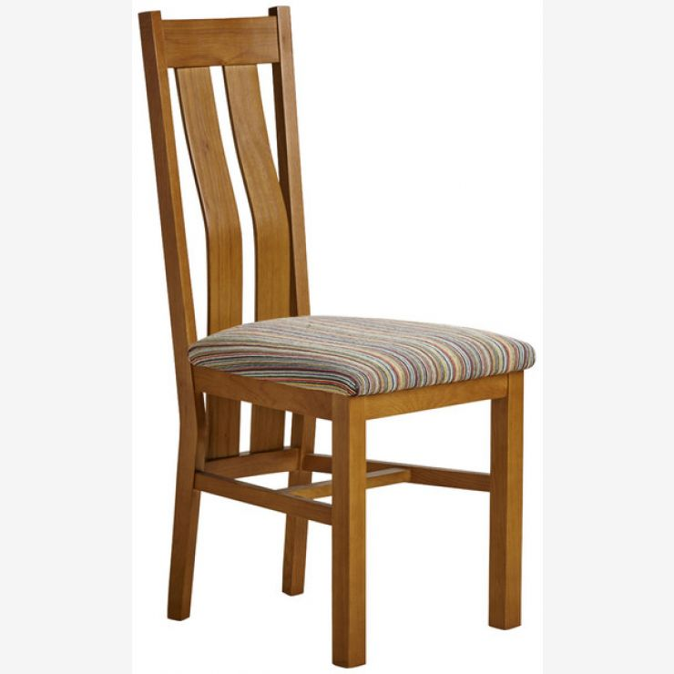 Arched Back Rustic Solid Oak and Striped Multi-coloured Fabric Chair - Image 4